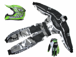 Wulfsport Kids MX Set Camo/Green Helmet Suit & Gloves